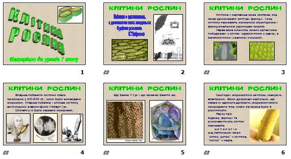 """Презентація """"Клітина рослин"""" (для 7 кл.)"""