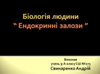 Презентація «Біологія людини. Ендокринні залози»