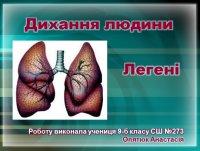 Презентація «Дихання людини. Легені»
