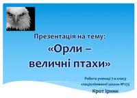 Презентація «Орли – величні птахи»